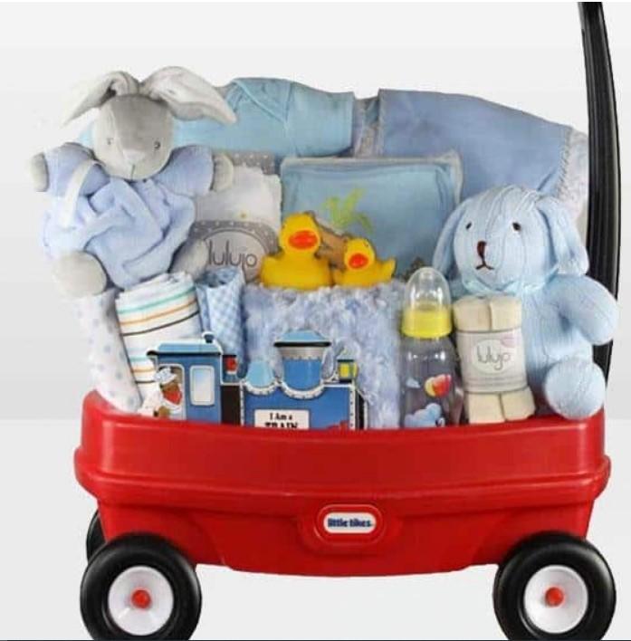 Cute Baby Shower Gift Basket Ideas-Towing Boy Wagon