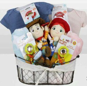 Cute Baby Shower Gift Basket Ideas-Toy Story Woody & Jessie Twin Basket