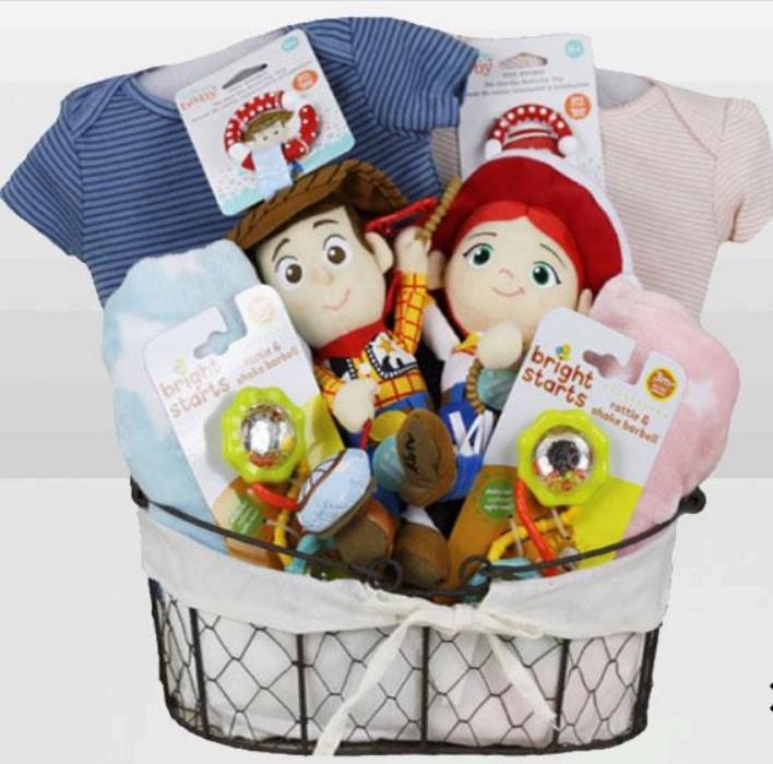 Cute Baby Shower Gift Basket Ideas-Toy Story Woody & Jessie Twin Basket