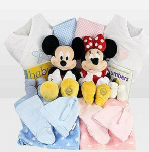 Cute Baby Shower Gift Basket Ideas-Twin Mickey and Minnie