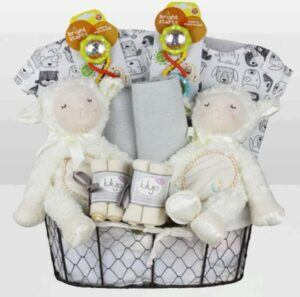 Cute Baby Shower Gift Basket Ideas-Twins Neutral Lamb Basket