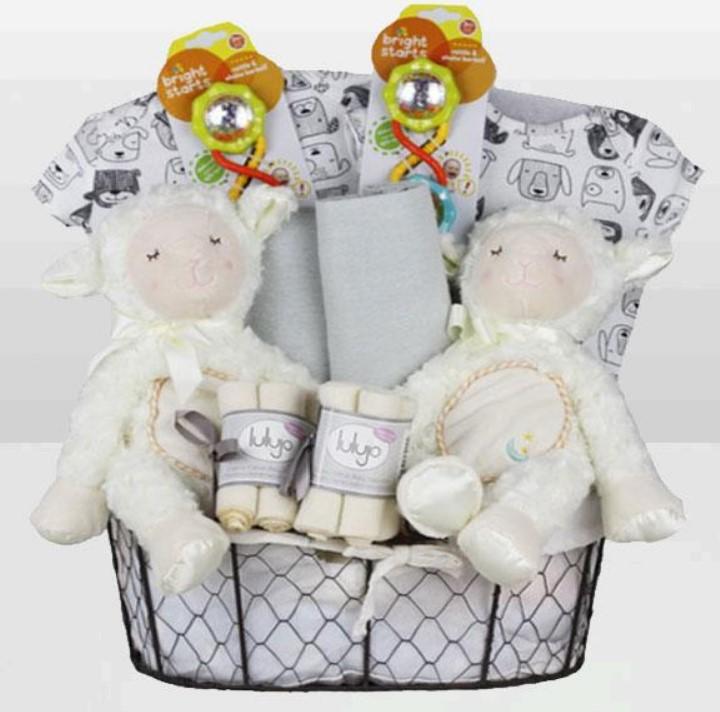 Cute Baby Shower Gift Basket Ideas-Twins Neutral Lamb Basket