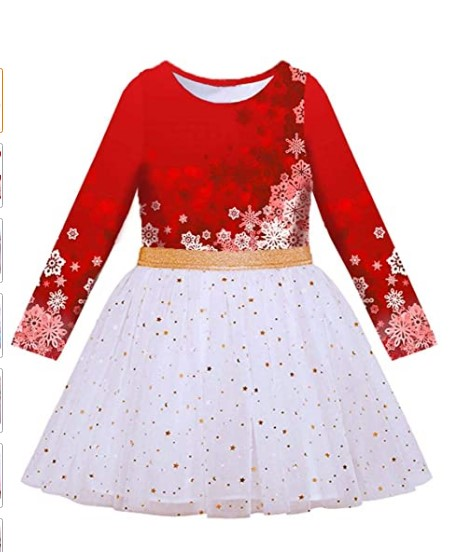 Christmas Dresses For Girls-VIKITA Toddler Flower Girl Dress Winter Long Sleeve Tutu Party Dresses for Girls 3-7 Years, Knee-Length