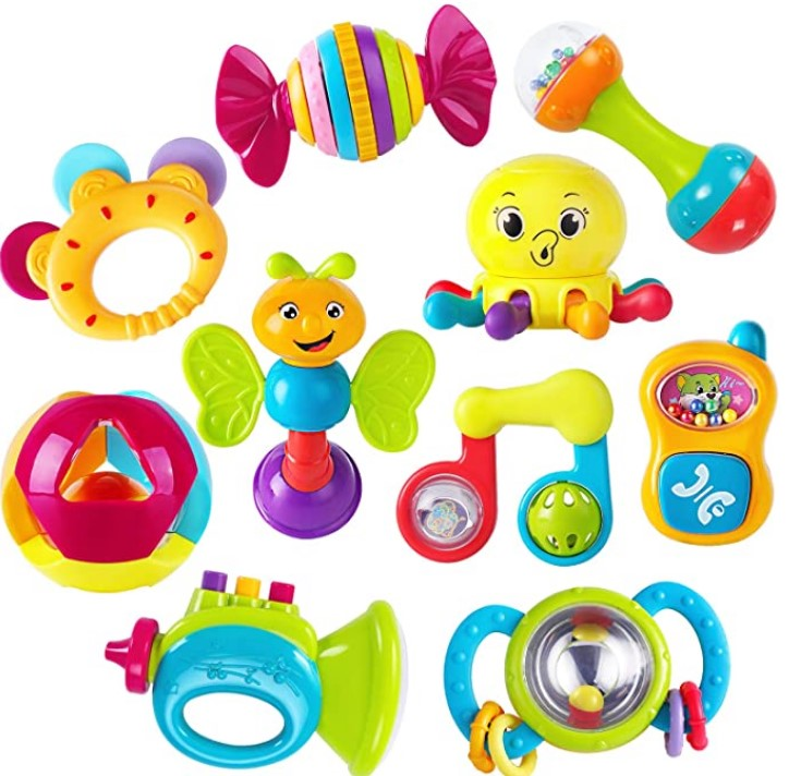 Best Christmas Toys For 2020-iPlay, iLearn 10pcs Baby Rattles Teether, Shaker, Grab and Spin Rattle, Musical Toy Set, Early Educational Toys for 3, 6, 9, 12 Month Baby Infant, Newborn