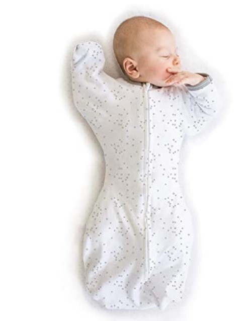 Best Sleep Sacks of -Amazing Baby Transitional Swaddle Sack with Arms Up Half-Length Sleeves and Mitten Cuffs, Confetti, Sterling, Small, 0-3 Months (Parents' Picks Award Winner)