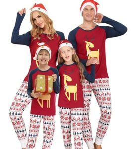 Family Matching Christmas Pajamas For-Matching Family Pajamas Sets Christmas PJ's with Deer Long Sleeve Tee and Printed Pants Loungewear