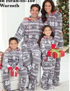 Family Matching Christmas Pajamas For-PajamaGram Family Pajamas Matching Sets - Nordic Fleece Christmas Onesie, Gray