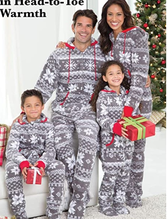 Family Matching Christmas Pajamas For-PajamaGram Family Pajamas Matching Sets - Nordic Fleece Christmas Onesie, Gray