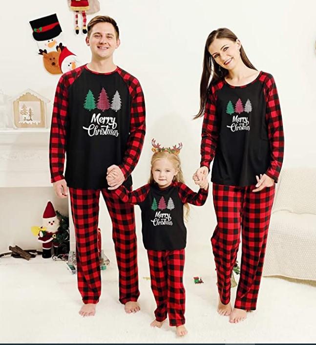 Family Matching Christmas Pajamas For-SANMIO Christmas Family Pajamas Matching Sets, Classic Plaid Xmas Deer Sleepwear for Family Mens Womens