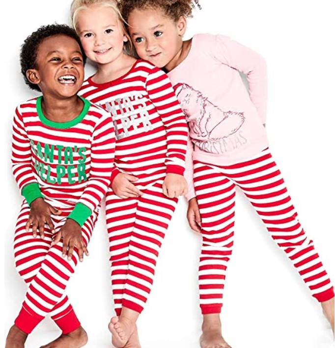 Christmas Gifts For 3-Year-Old Girl-Simple Joys by Carter's Baby, Little Kid, and Toddler Girls' 3-Piece Snug-Fit Cotton Christmas Pajama Set