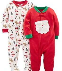 Christmas Gifts For 3-Year-Old Girl-Simple Joys by Carter's Baby and Toddler 2-Pack Holiday Loose Fit Fleece Footed Pajamas