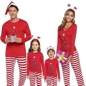 Family Matching Christmas Pajamas For-iClosam Matching Family Pajamas Set Striped Christmas Pajamas Sleepwear Dad Mom PJs