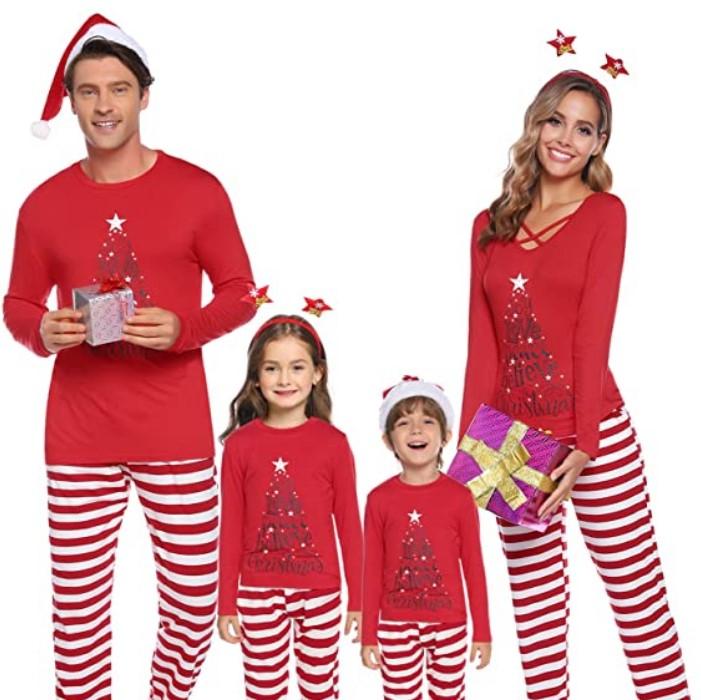 Family Matching Christmas Pajamas For-iClosam Matching Family Pajamas Set Striped Christmas Pajamas Sleepwear Dad Mom PJs