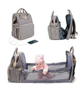 The Best Diaper Bags To Buy in 2021-3 in 1 Diaper Bag Backpack Foldable Baby Bed Waterproof Travel Bag with USB Charge Baby Changing Bag (New Gray)