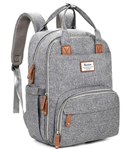 The Best Diaper Bags To Buy in 2021- Diaper Bag Backpack, RUVALINO Multifunction Travel Back Pack Maternity Baby Changing Bags, Large Capacity, Waterproof and Stylish, Gray