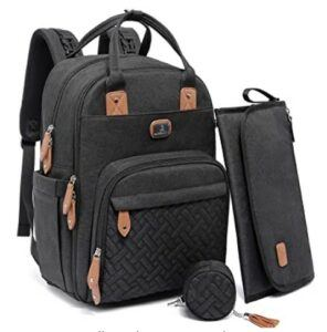 The Best Diaper Bags To Buy in 2021-Diaper Bag Backpack with Portable Changing Pad, Pacifier Case and Stroller Straps, Dikaslon Large Unisex Baby Bags for Boys Girls, Multipurpose Travel Back Pack for Moms Dads, Black