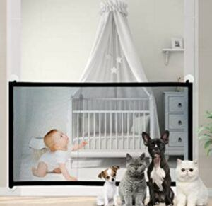 Best Baby Gates For The Stairs-CAMTOA Magic Gate for Dogs, Indoor Outdoor Gate, Portable Folding Mesh Dog Gate, Extra Wide Safety Gate and Pet Gate for Stairs