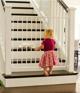 Best Baby Gates For The Stairs-Munchkin Extending XL Tall and Wide Baby Gate, Hardware Mounted Safety Gate for Stairs, Hallways and Doors,Metal, White