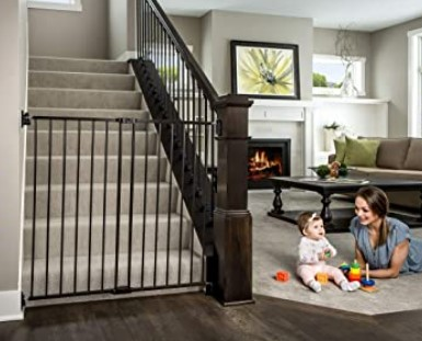 Best Baby Gates For The Stairs -Regalo 2-in-1 Extra Tall Easy Swing Stairway and Hallway Walk Through Baby Gate, Black
