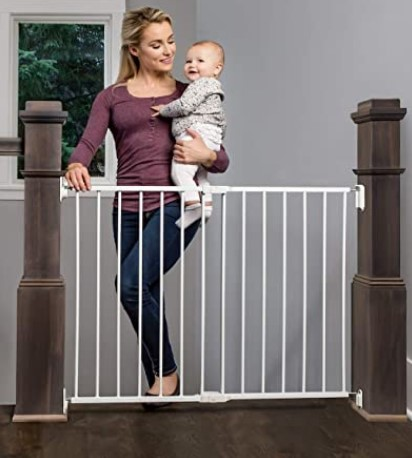 Best Baby Gates For The Stairs-Regalo 2-in-1 Extra Wide Stairway and Hallway Walk Through Baby Safety Gate with Mounting Kit
