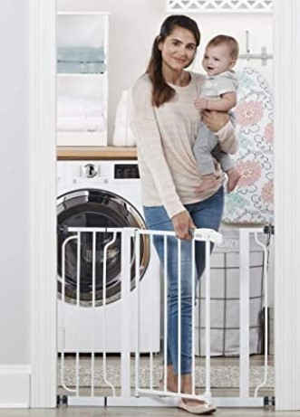 Best Baby Gates For The Stairs-Regalo Easy Step 38.5-Inch Extra Wide Walk Thru Baby Gate, White Original version