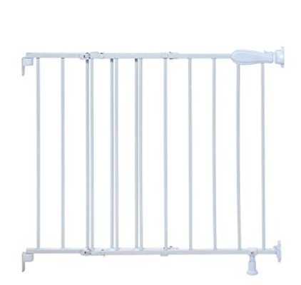 Best Baby Gates For The Stairs-Summer Top of Stairs Simple to Secure Metal Gate, White, 29-42 Inch Wide