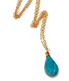 Cute Mother Day Gifts-Chrysocolla-Necklace-Gold-Fill