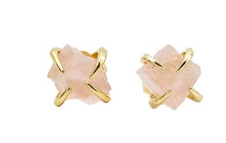 Cute Mother Day Gifts-Raw-Rose-Quartz-Prong-Stud-Earrings