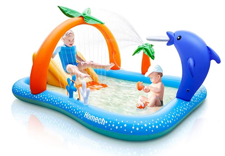 Best Toddlers Beach Toys-Homech Inflatable Play Center Pool, Seaside Water Play Center with Water Slide
