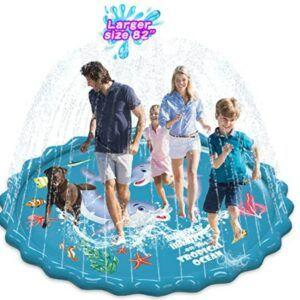 """Best Toddlers Beach Toys-Abida Splash Pad, 82"""" Outside Sprinkler Play Mat for Kids"""