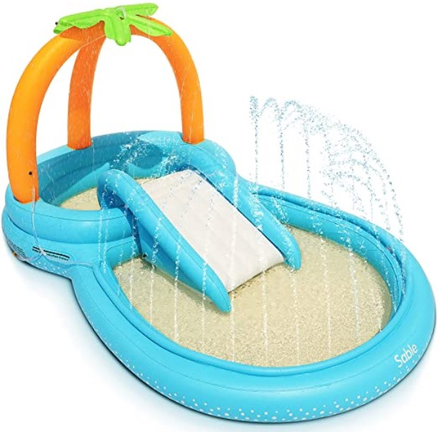 Best Toddlers Beach Toys-Sable Inflatable Play Center Wading Pool with Slide for Kids