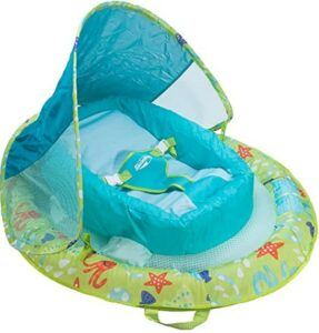 Best Toddlers Beach Toys-SwimWays 11554 Infant Spring Float Inflatable Swimming Pool Float with Canopy