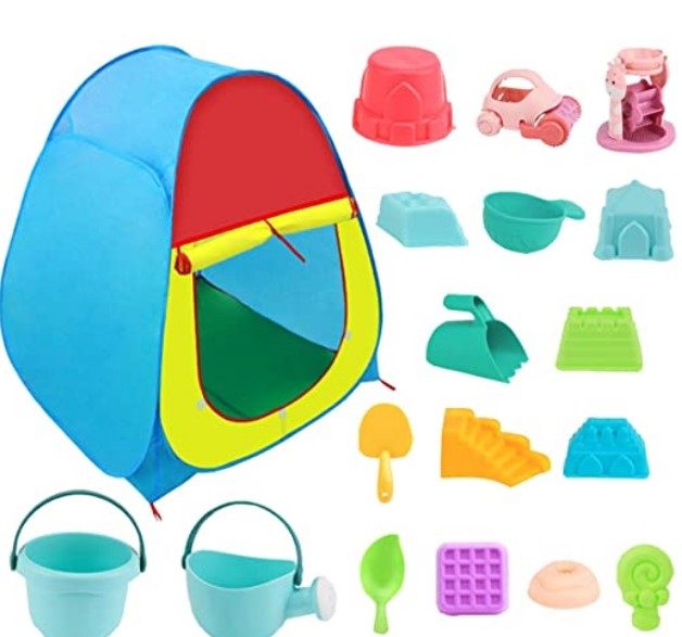 Best Toddlers Beach Toys-The ISKYDRAW Kids Beach Sand Toys Set with Pop-up Tent