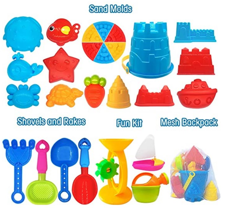 Best Toddlers Beach Toys-ToyerBee Beach Toys- 27 Pcs Sand Toys Set with Mesh Bag