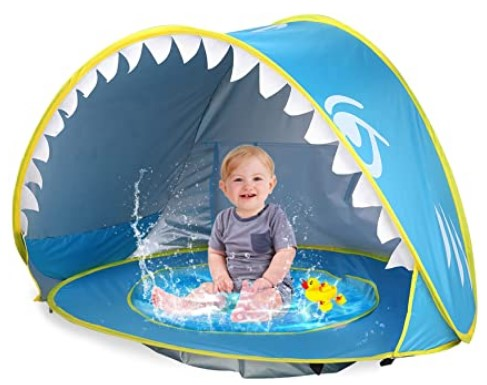 Best Toddlers Beach Toys-iGeeKid Baby Beach Tent Pop Up Shark Baby Pool Tent with Portable Sun Shelter Tent UPF 50+ UV Protection & Waterproof Sun Tent