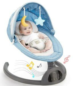 Amazon Baby Swings-Hahaland-Store-Baby-Swings-for-Infants-with-5-Swing-Speeds-LED-Touch-Screen-Baby-Swings-with-10-Music-3-Timing-Baby-Rocker-Detachable-Mosquito-Net-Hanging-Baby-Toys